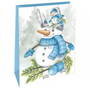 Nekupto Dárková papírová taška 32,5 x 26 x 13 cm Vánoční sněhulák WBL 1951 40