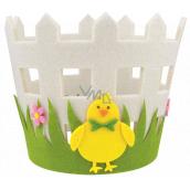 Obal na květináč filcový s kuřátkem 16 x 15 cm