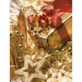 Nekupto Dárková papírová taška střední 666 01 WBM Zlatá s balíčkem 23 x 18 x 10 cm