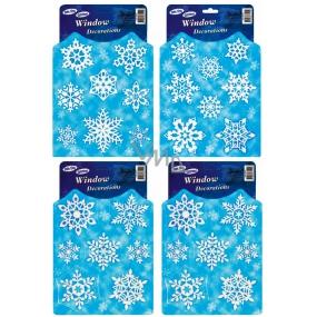 Okenní fólie bez lepidla vločky bílé perleťové modrý podklad 29 x 19,50 cm 1 kus
