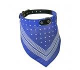 B&F Obojek kožený s bavlněným šátkem modrým 2,2 x 55 cm
