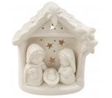 Betlém porcelánový bílý s LED osvětlením 12 cm