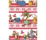 Ditipo Dárkový balicí papír 70 x 200 cm Vánoční Disney Medvídek Pú bílý s červenými pruhy