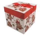 Dárková krabička skládací s mašlí Vánoční s červenými ozdobami 16,5 x 16,5 x 16,5 cm