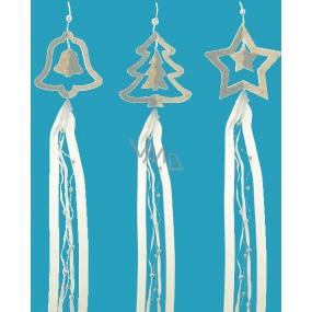 Závěs stromek, hvězda nebo zvonek šedostříbrný se stuhou 70 cm 1 kus