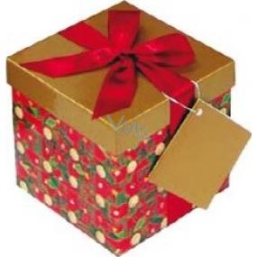 Dárková krabička s mašlí skládací vánoční červená s vínovou mašlí 1371 S 13 x 13 x 13 cm 1 kus