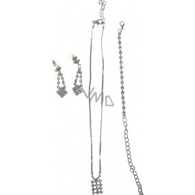 Bižuterie Náhrdelník stříbrný s kamínky 35 cm + náramek 11 cm + náušnice 1 pár
