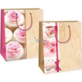 Ditipo Dárková papírová taška střední béžovo - růžová, kytky, šálek, psací stroj 18 x 10 x 22,7 cm DC