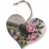 Bohemia Gifts & Cosmetics Dřevěné dekorační srdce s potiskem Růže a labutě 13 cm