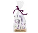 Bohemia Gifts & Cosmetics Botanica Levandule tekuté mýdlo 300 ml + tělové mléko 250 ml + tuhé mýdlo 100 g, dřevěná paleta kosmetická sada