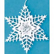Háčkovaná hvězda bílá 8 cm