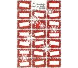 Arch Vločky červené vánoční samolepky na dárky 20 etiket 1 arch