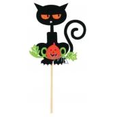 Zápich kočky černé z filcu oranžové oči 8 cm + špejle
