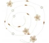 Řetěz květinky z hnědé látky 2 m
