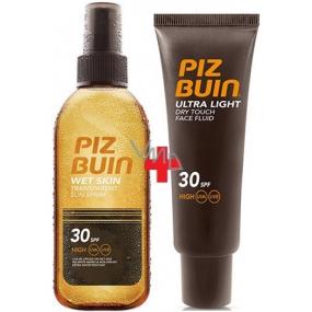 Piz Buin Wet Skin Transparent Sun SPF30 transparentní sluneční sprej 150 ml + Piz Buin Ultra Dry face SPF30 Fluid na opalování pleti 50 ml, duopack