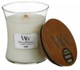 WoodWick Linen - Čistý len vonná svíčka s dřevěným knotem a víčkem sklo střední 275 g