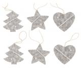 Pletené dekorace šedé na zavěšení 6 kusů v sáčku