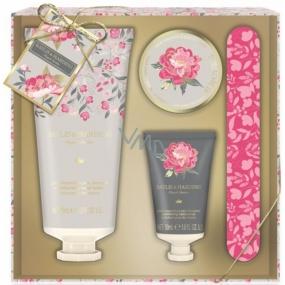 Baylis & Harding Růžová magnolie a Hruškový květ mléko na ruce 75 ml + peeling na ruce 30 ml + krystalky pro vodní lázeň rukou 20 ml + pilník na nehty, kosmetická sada péče o ruce