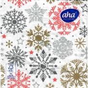 Aha Vánoční papírové ubrousky Vločky 3 vrstvé 33 x 33 cm 20 kusů