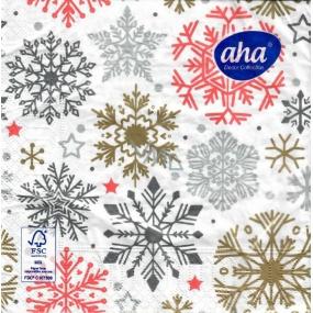 Aha Vánoční papírové ubrousky 3 vrstvé 33 x 33 cm 20 kusů Vločky