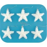 Hvězdy s glitry a flitry na zavěšení 8 cm 6 kusů