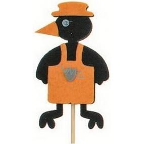 Zápich vrána v zástěře oranžová 7 cm + špejle 15 cm