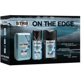Str8 On The Edge voda po holení pro muže 50 ml + deodorant sprej pro muže 150 ml + sprchový gel 250 ml, kosmetická sada