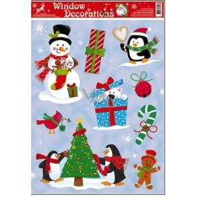Okenní fólie bez lepidla vánoční motivy uprostřed modrý dárek 42 x 30 cm