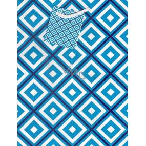 Nekupto Dárková papírová taška střední 1042 40 BM modro-bílé káro 23 x 18 x 10 cm