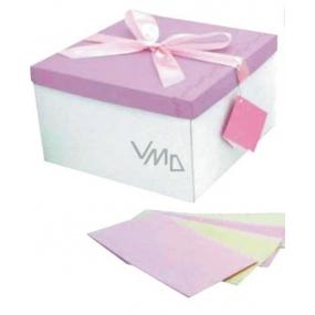 Dárková krabička skládací s mašlí celoroční bílo-růžová L 22 x 22 x 13 cm