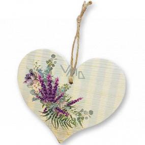 Bohemia Gifts Dřevěné dekorační srdce s potiskem Levandule 13 cm