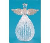 Anděl skleněný s baňatou sukní na postavení 10 cm