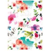 Ditipo Balicí papír bílý, červené květy 100 x 70 cm 2 kusy