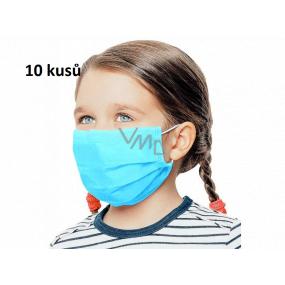Rouška 3 vrstvá ochranná zdravotní netkaná jednorázová, nízký dýchací odpor pro děti 10 kusů světle modrá bez potisku