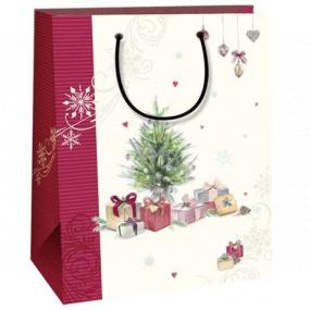 Ditipo Dárková kraftová taška 18 x 8 x 24 cm bílá vínový pruh stromeček s dárky 50