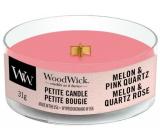 WoodWick Melon & Pink Quartz - Meloun a růžový křemen vonná svíčka s dřevěným knotem petite 31 g