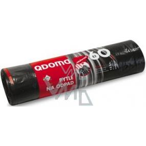 QDoma Sáčky do odpadkového koše černé zatahovací 60 litrů, 65 x 75 cm, 15 kusů