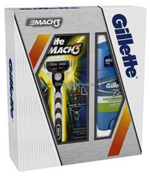 Gillette Mach 3 holící strojek se zvláčňujícím páskem 1ks + power Rush antiperspirant deodorant stick 48 ml, kosmetická sada