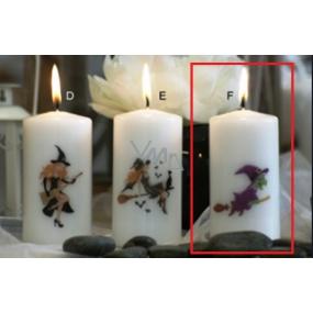 Lima Čarodějnice fialová svíčka s potiskem válec bílá 50 x 100 mm 1 kus
