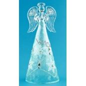 Anděl skleněný s modrou sukní na postavení 16 cm