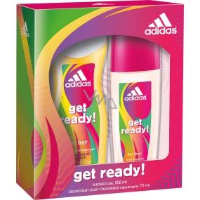 Adidas Get Ready! for Her parfémovaný deodorant sklo 75 ml + sprchový gel 250 ml, kosmetická sada 2016