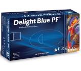 Aurelia Delight Blue PF jednorázové vinylové rukavice velikost L box 100 kusů