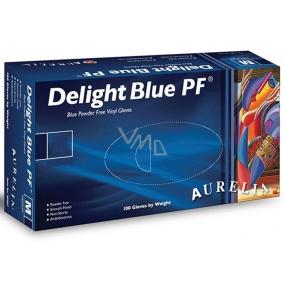 Aurelia Delight Blue PF Rukavice vinylové jednorázové bez pudru velikost L box 100 kusů