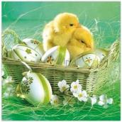 Aha Velikonoční papírové ubrousky košík, kuřátka, vajíčka 3 vrstvé 33 x 33 cm 20 kusů