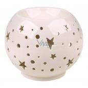 Aromalampa porcelánová bílá s hvězdami 9 cm