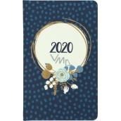 Albi Diář 2020 kapesní týdenní Modrá květina 15,5 x 9,5 x 1,2 cm
