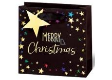 BSB Luxusní Vánoční dárková papírová taška malá Merry Christmas 14,5 x 15 x 6 cm VDT 433-CD