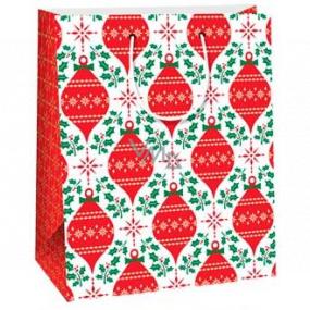 Ditipo Dárková papírová taška 26,4 x 13,6 x 32,7 cm bílá červené ozdoby AB