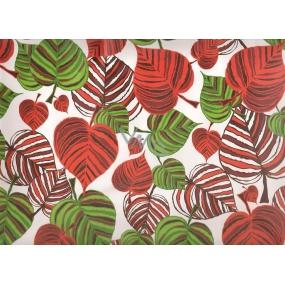 Nekupto Dárková kraftová taška střední 32,5 x 26 x 13 cm listy červené a zelené, 333 CL