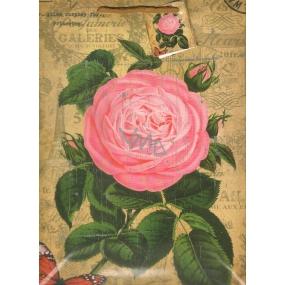 Nekupto Dárková papírová taška střední 1016 01 KFL růže 32,5 x 26 x 13 cm